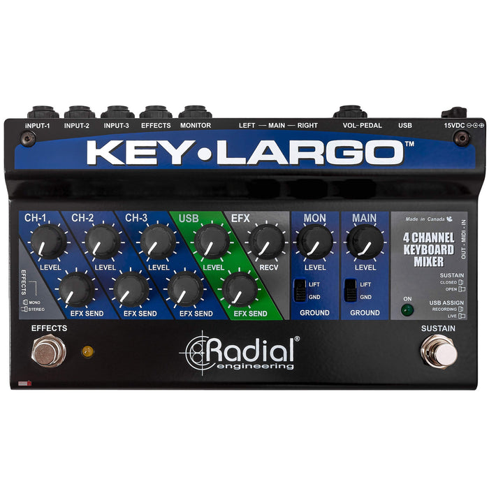 Radial | Key Largo | 4CH Keyboard Mixer w/ Balanced DI Outs