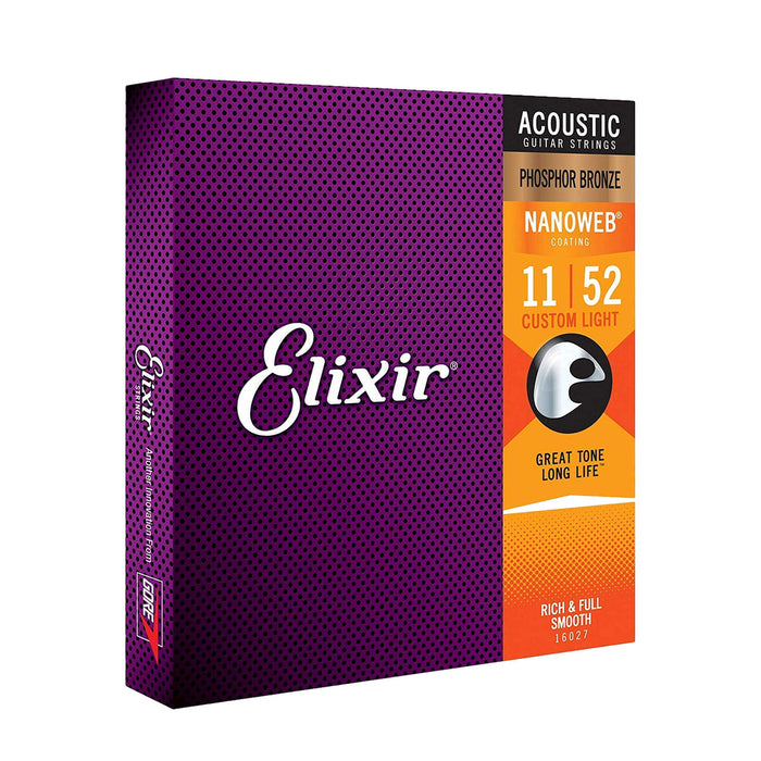Elixir | Nanoweb | Acoustic Strings | Phosphor Bronze | Custom Light | Optional Spare Single String