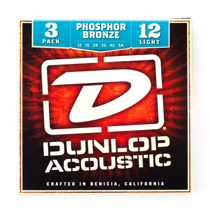 Dunlop Acoustic Guitar Strings Phosphor Bronze 12-54 Light (Set of 3) Acoustic Strings by Dunlop - Gsus4