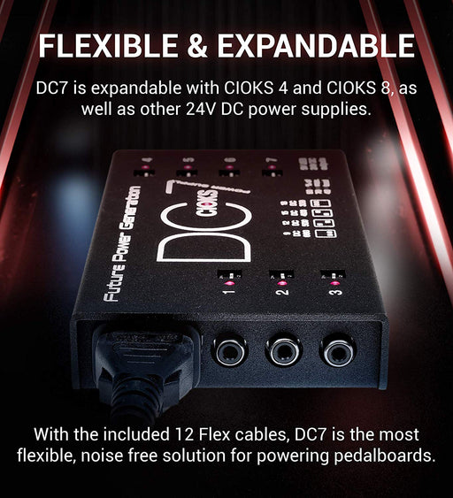 CIOKS | DC7 | High Current 7-Pedal Universal Power Supply | 7x 660mA 9V Outputs