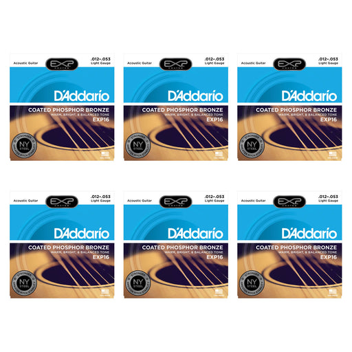 5+1 SETS BULK BUY - D'Addario EXP16 Acoustic Guitar Coated Strings Phosphor Bronze - Light - Gsus4