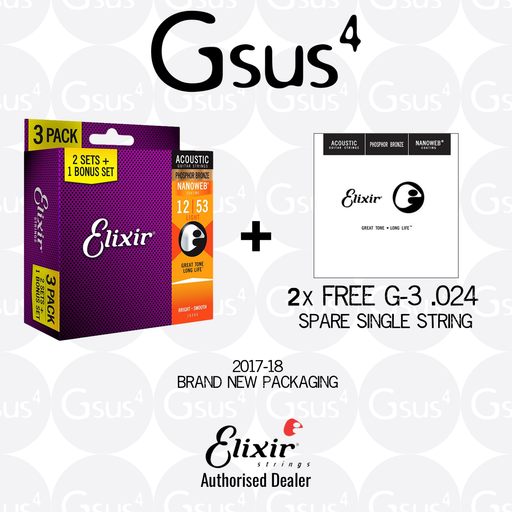 Elixir 3-Pack Acoustic Strings Phosphor Bronze w/ Nanoweb Coating (Plus FREE 2x Spare Single String) Acoustic Strings by Elixir - Gsus4