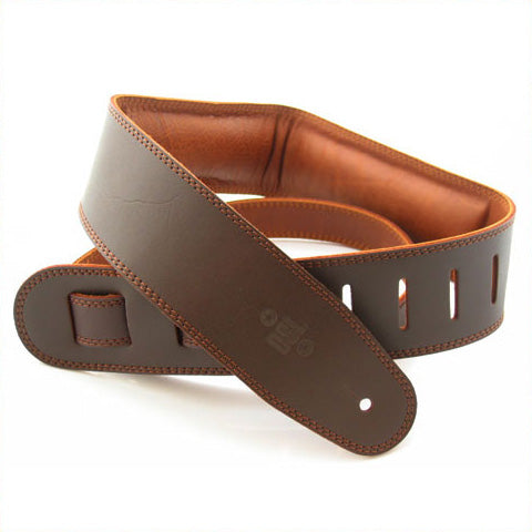 "DSL Straps | GEG | 2.5"" Padded Garment Saddle Brown / Brown Guitar Strap 