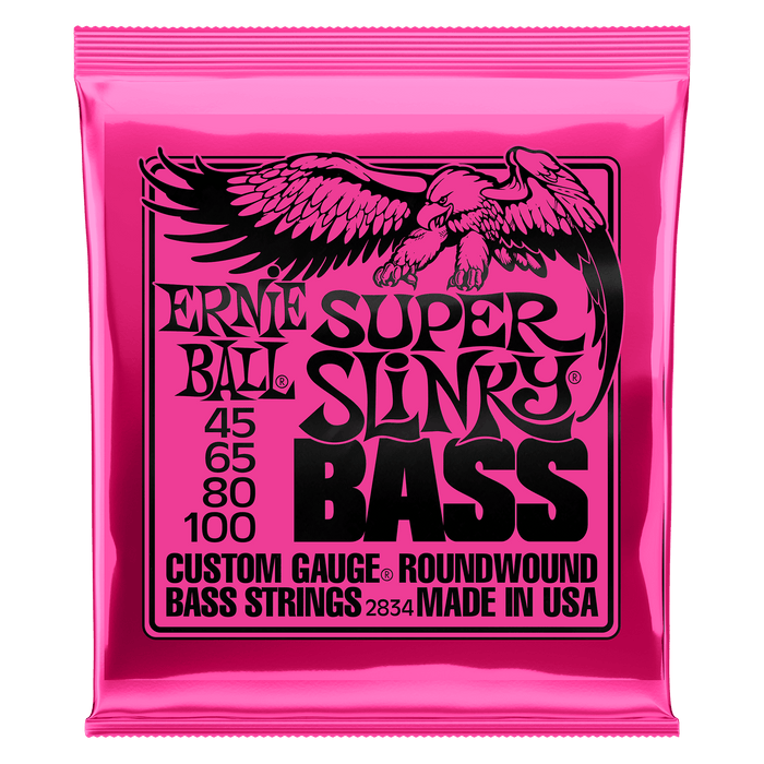 Ernie Ball | Super Slinky | Nickel Wound Electric Bass Strings | Light Gauge | 45-100