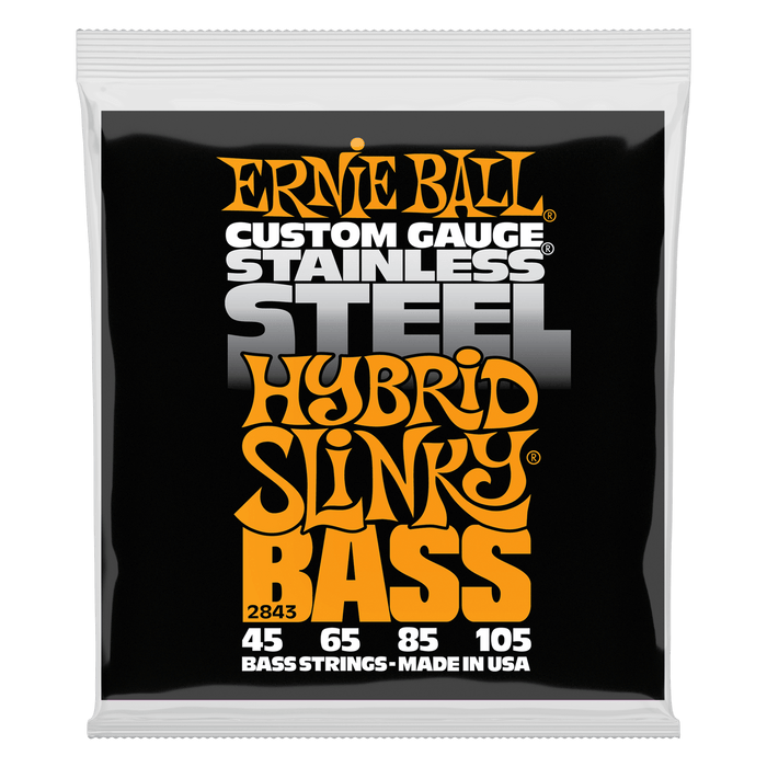 Ernie Ball | Hybrid Slinky | Stainless Electric Bass Strings | Medium Gauge | 45-105