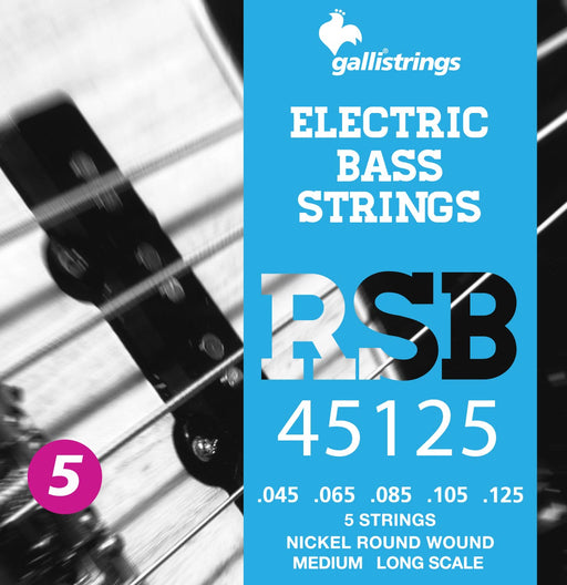Galli RSB Nickel Plated Steel Round Wound 5 String Medium Bass Strings 45-125