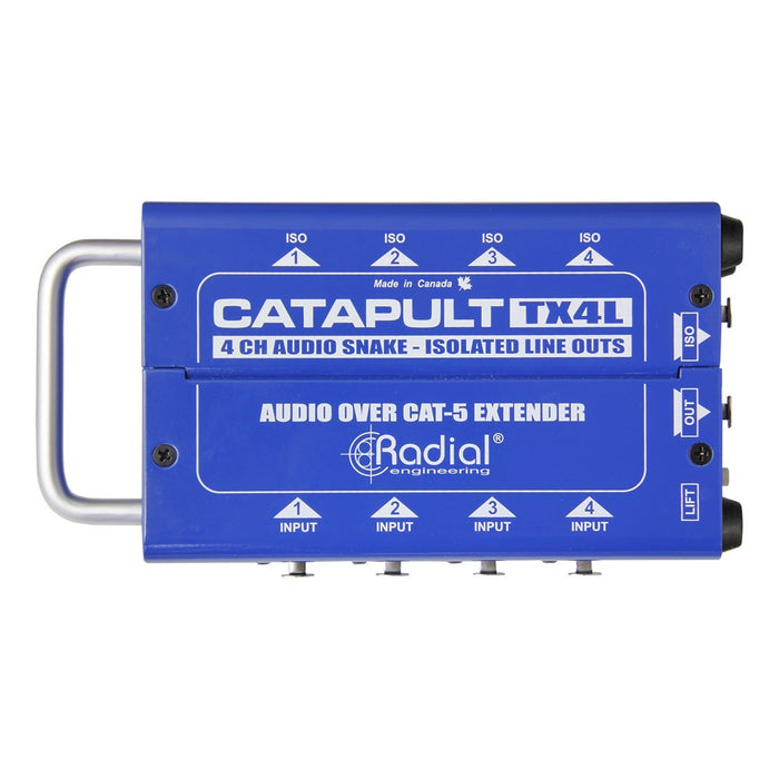 Radial | Catapult TX4L | 4CH Transmitter | Balanced I/O | Line-Level Transformers | Cat5 Audio Snake