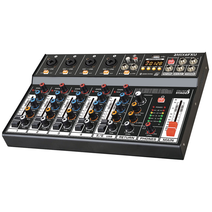 Italian Stage | 2MIX6FXU | 6Ch AUDIO MIXER | w/ DSP FX, USB & Bluetooth Interface