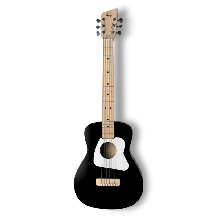 Loog | Pro VI Acoustic Guitar | w/ Chord Diagrams Flash Cards | Loog Learning App | Black