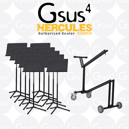 Hercules Music Stands 10+1 Package (10 Stands + 1 Carry Cart) Stand by Hercules - Gsus4
