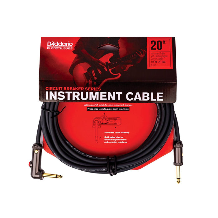 Planet Waves Circuit Breaker Instrument Cable Right Angle to Straight - 6m (20ft) Instrument Cable by Planet Waves - Gsus4