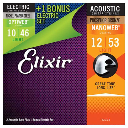 8+4 SETS BULK BUY - Elixir Acoustic & Electric MULTIPACK - LIGHT w/ Nanoweb & Optiweb Coating
