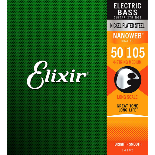 Elixir Nickel Plated Steel 4-String Bass Strings w/ NANOWEB Coating - Medium Bass Strings by Elixir - Gsus4
