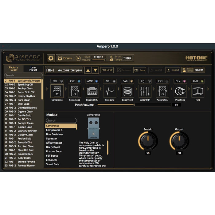 Hotone | AMPERO | Multi Effects Amp Modeller
