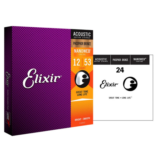Elixir | Nanoweb | Acoustic Strings | Phosphor Bronze | Plus FREE Spare Single String