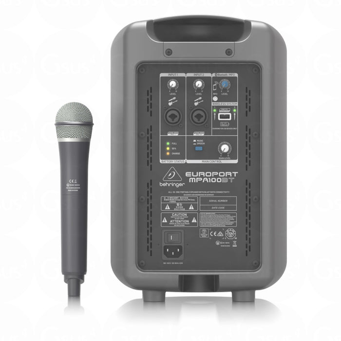 Behringer MPA100BT Portable PA Battery Powered 100W Speaker w/ Wireless Microphone & Bluetooth Connection - Gsus4