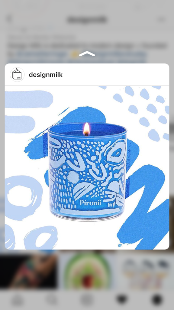 design milk pironii instagram post