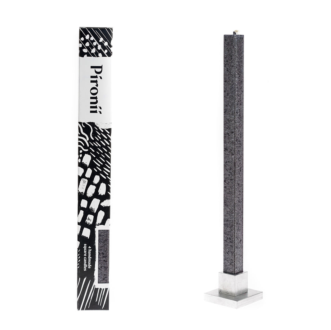 4pk Anthracite Dripless Square Pillar Candles + Stand