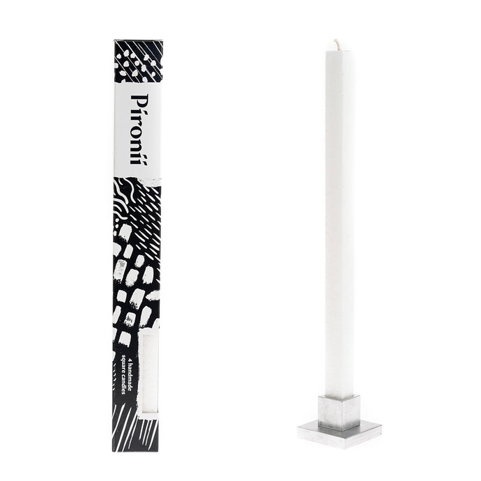 4pk Ivory Dripless Square Pillar Candles + Stand
