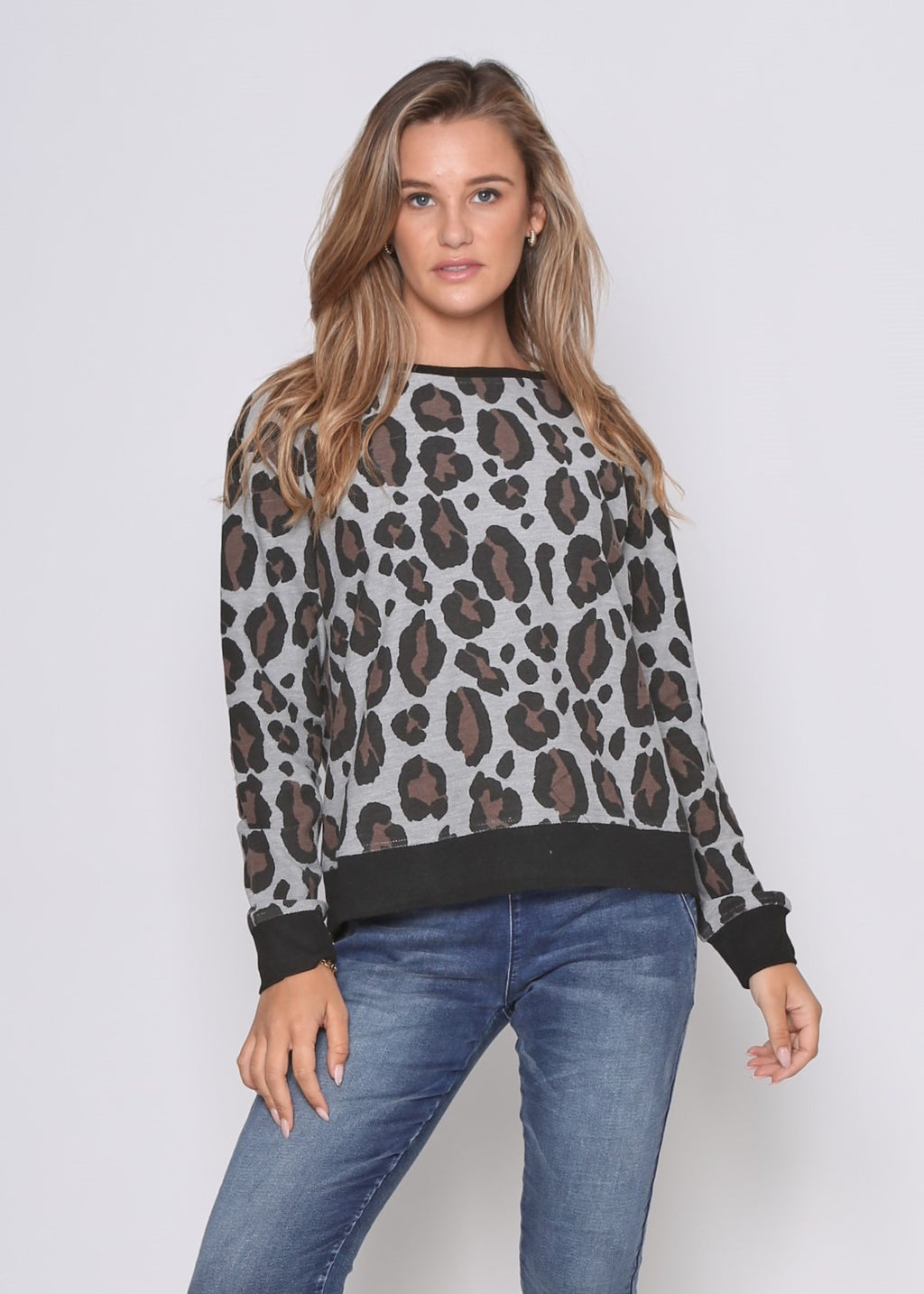 FRAZER SWEATER - GREY LEOPARD