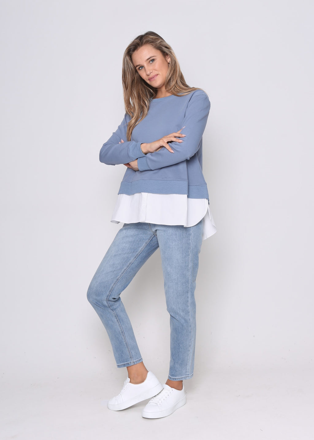 LARA MOCK SHIRT SWEATER - BLUE