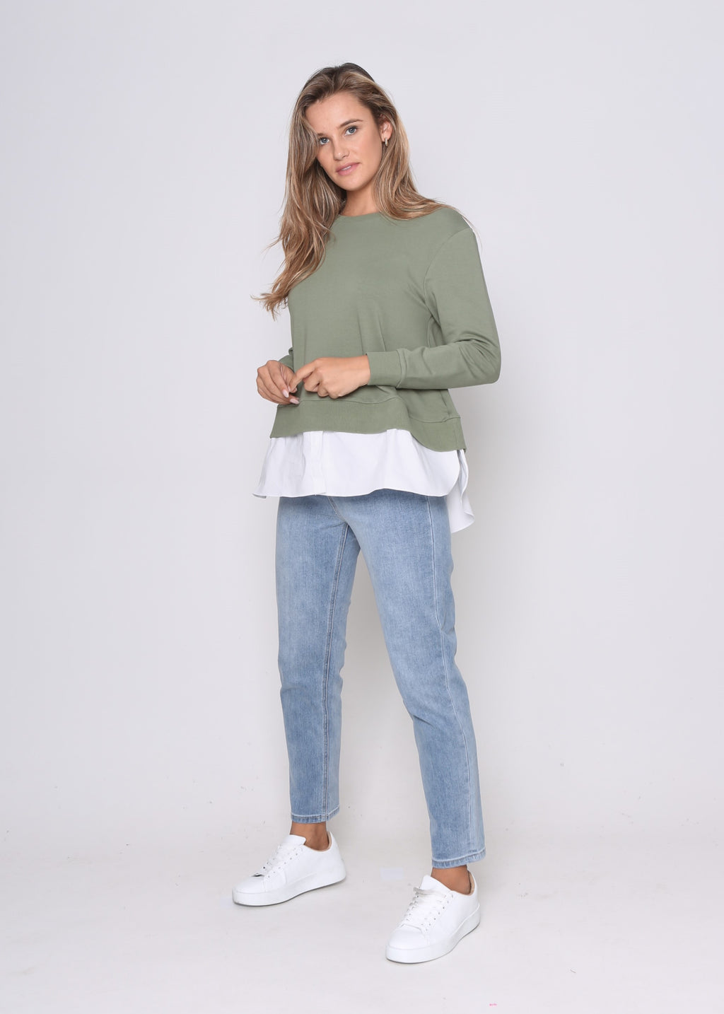 LARA MOCK SHIRT SWEATER - KHAKI