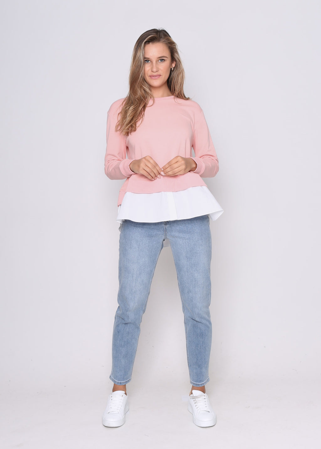 LARA MOCK SHIRT SWEATER - BLUSH