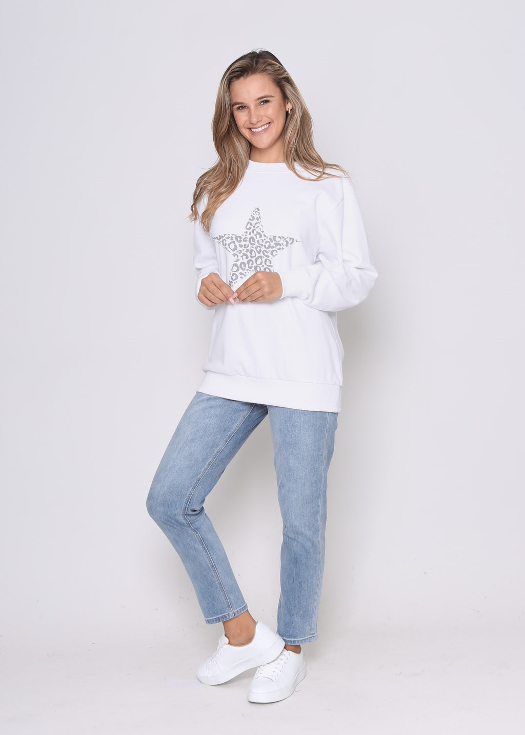 JUST IN - STAR SWEAT - WHITE