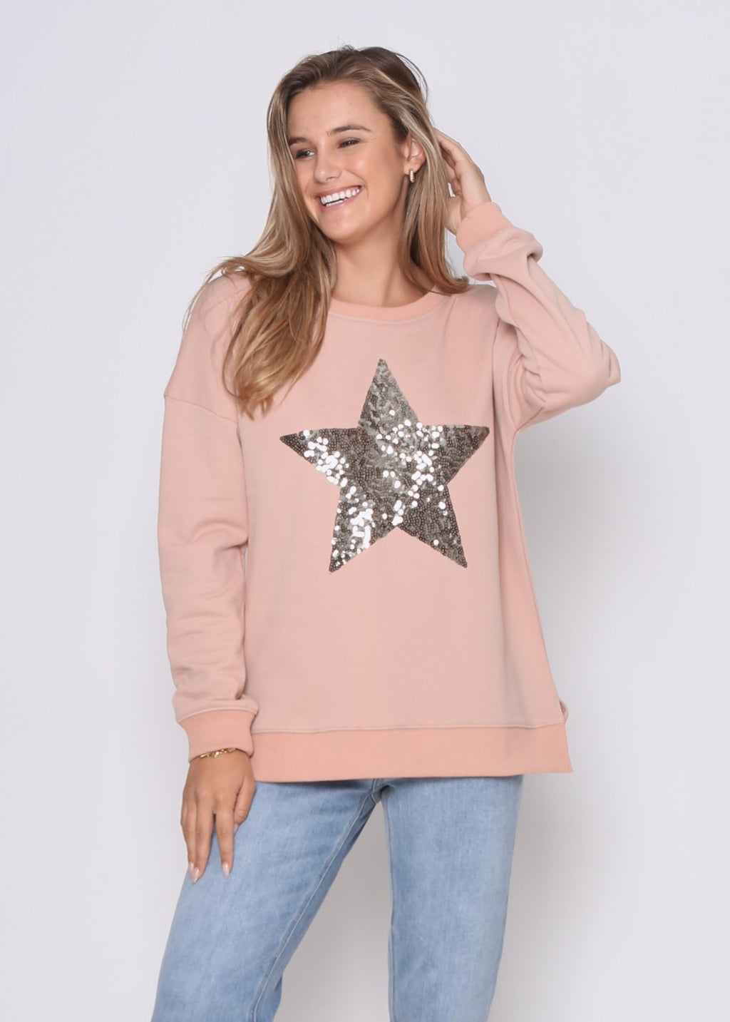PRE-ORDER - STAR SEQUIN SWEAT - ROSE