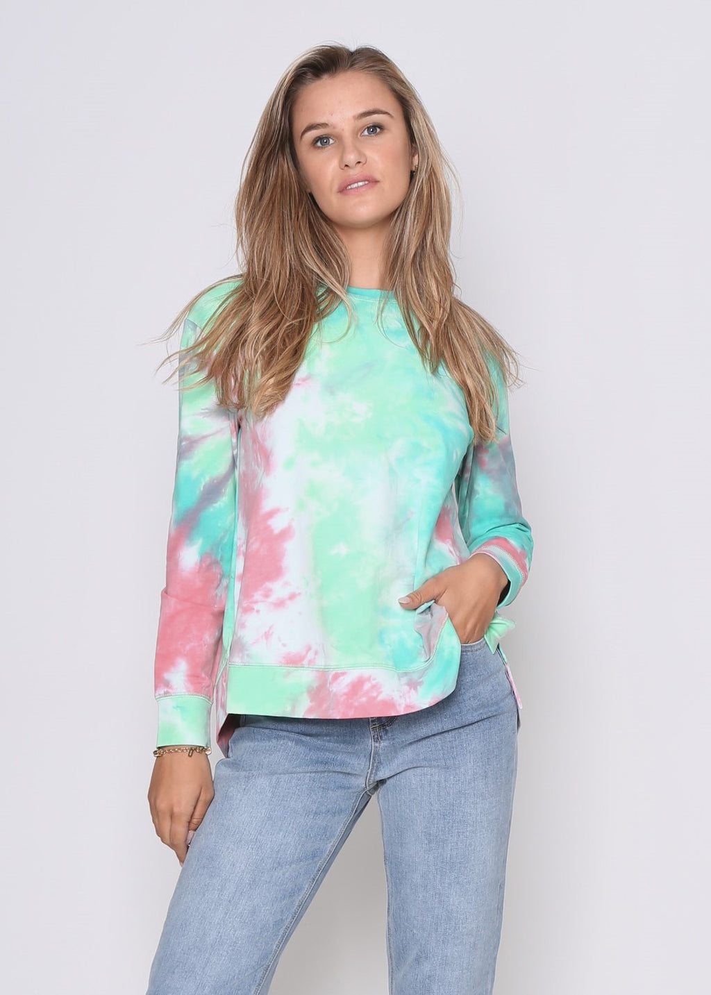 HARLEY SWEATER - GREEN/PINK TIE-DYE