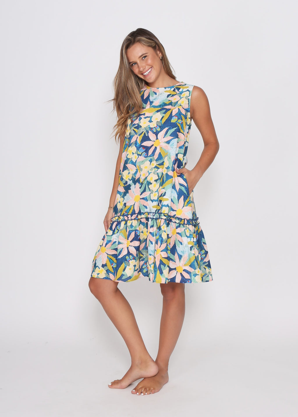 NEW - FIJI DRESS - WATER FLORAL PRINT