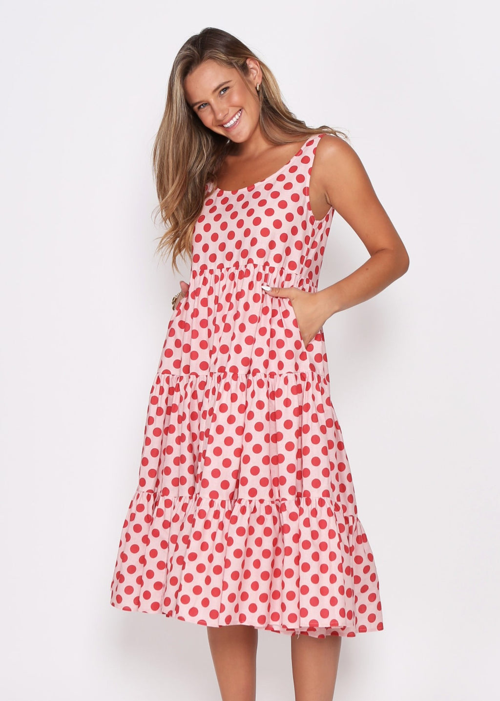 NEW  - AMARA DRESS - RED COMBO