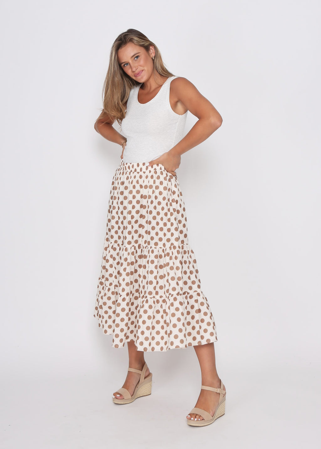 NEW - EDEN SKIRT - TAN COMBO