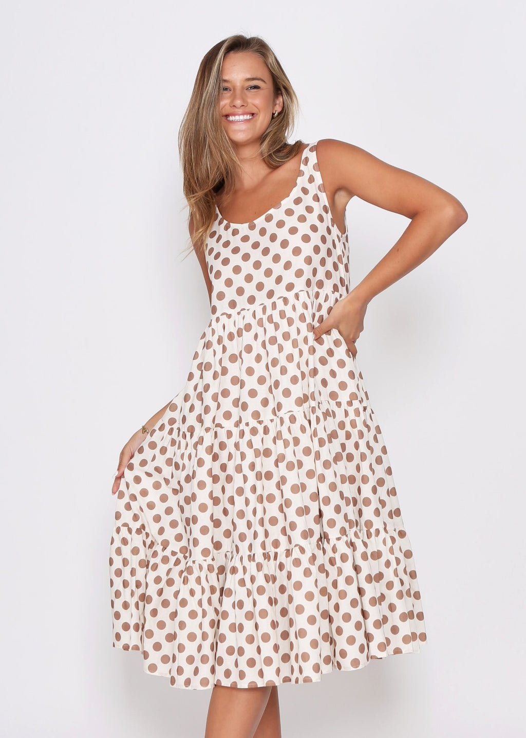 NEW  - AMARA DRESS - TAN COMBO