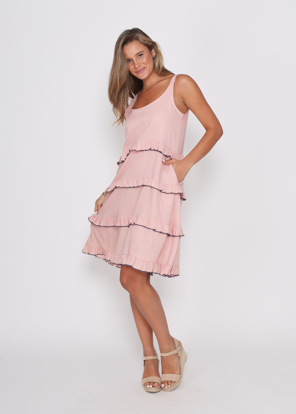 NEW  - CARMEN TIERED DRESS - PINK