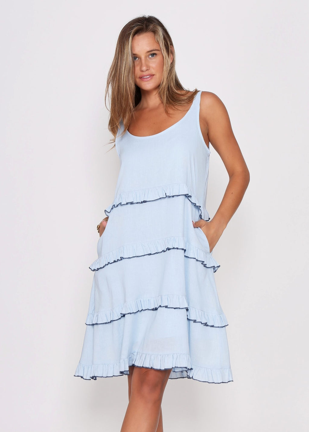 NEW  - CARMEN TIERED DRESS - BLUE