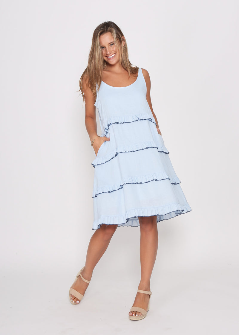 CARMEN TIERED DRESS - BLUE