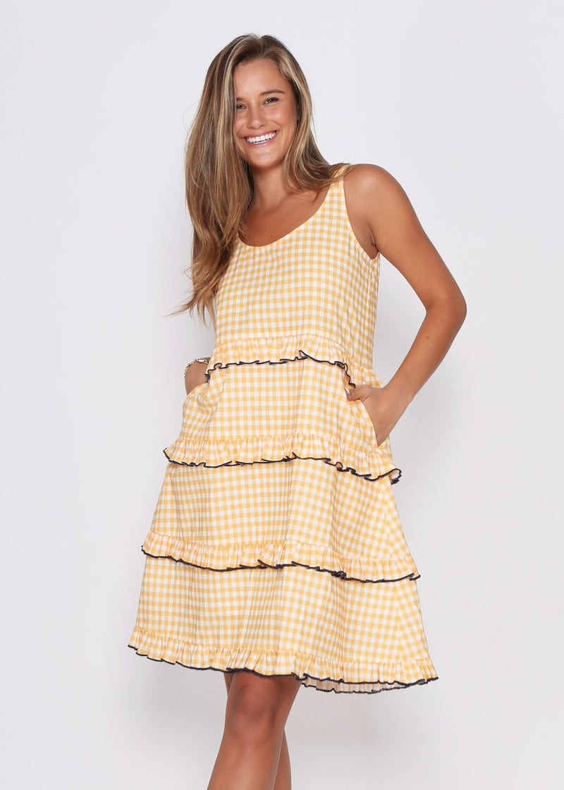 NEW  - CLARE DRESS - YELLOW CHECK