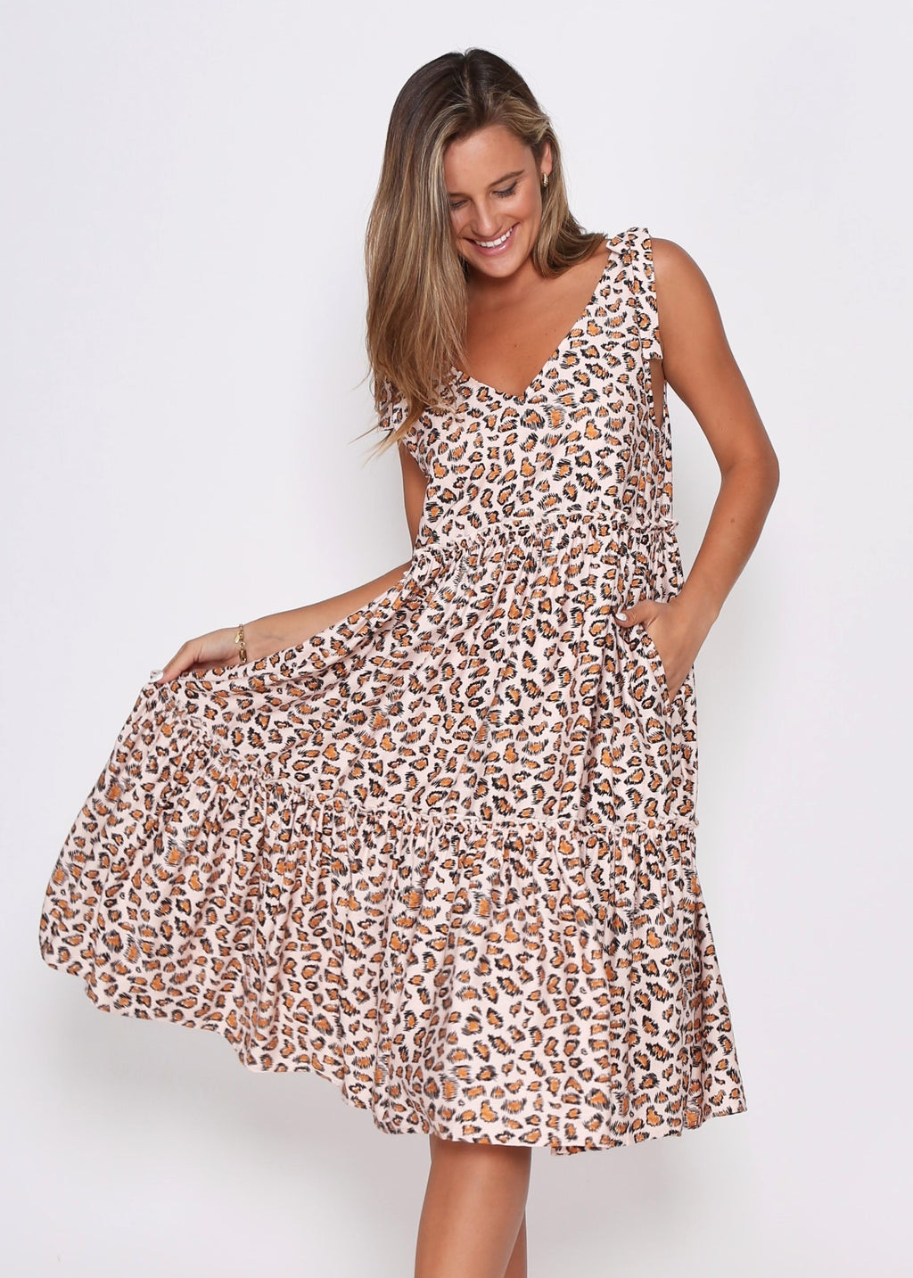 NEW - LYNX DRESS - TAN LEOPARD
