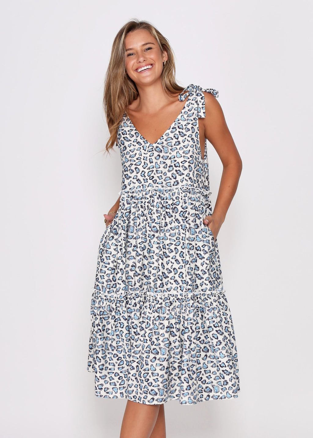 NEW - LYNX DRESS - BLUE LEOPARD
