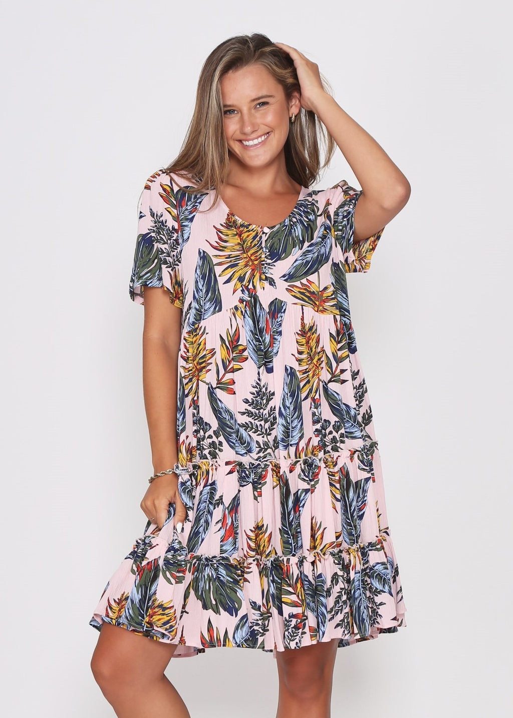 NEW - SAMMI DRESS - PINK TROPICAL