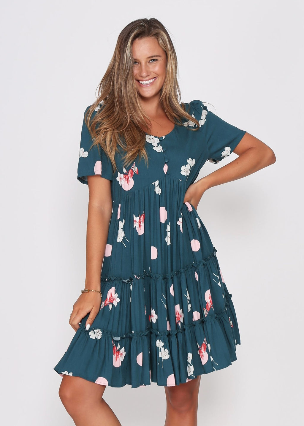 NEW - SAMMI DRESS - TEAL ROSE