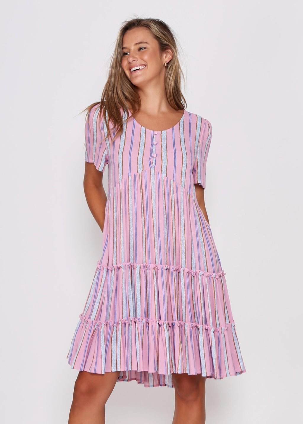 NEW - SAMMI DRESS - PINK STRIPE
