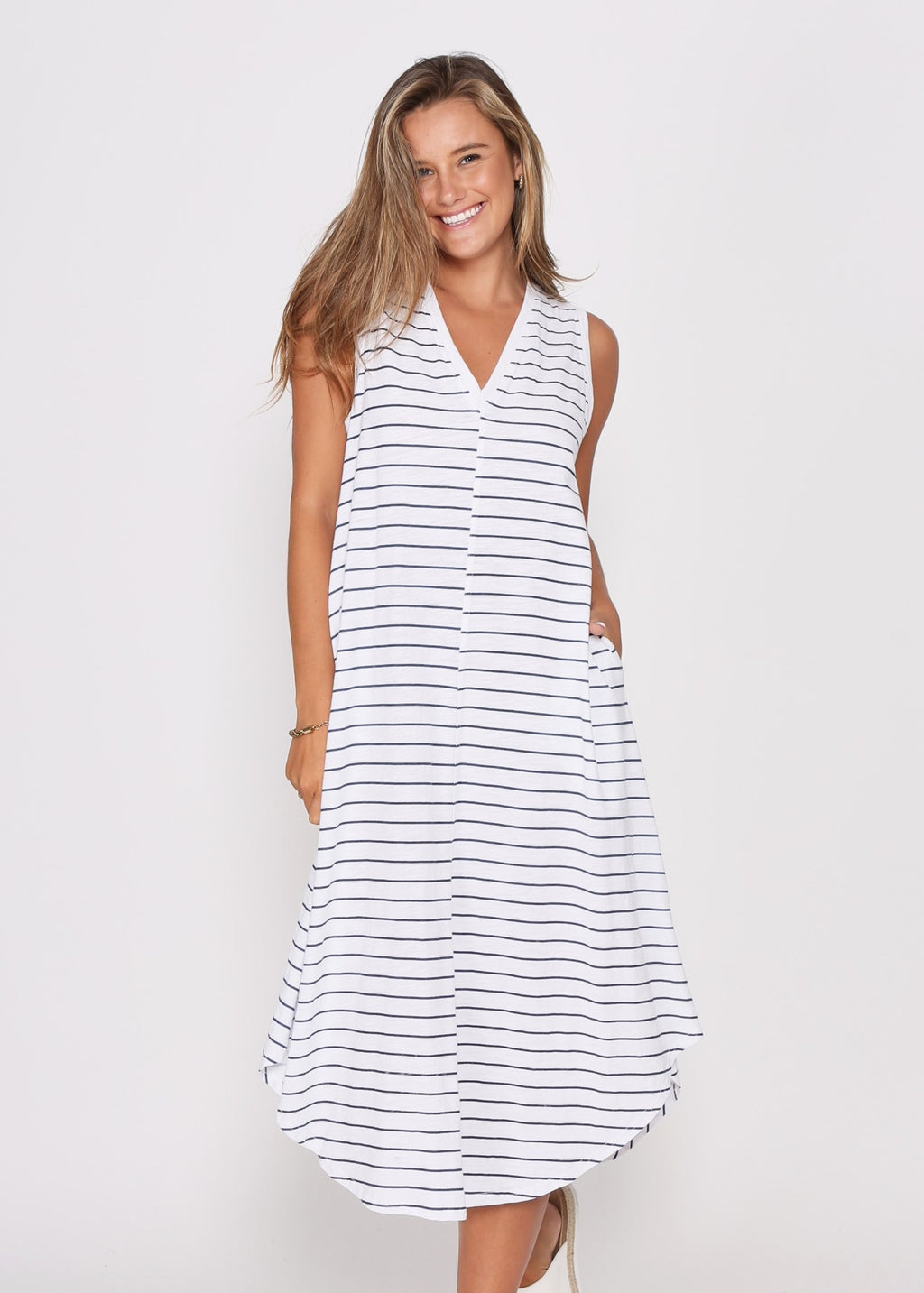 NEW - MARLEY DRESS - WHITE/NAVY STRIPE
