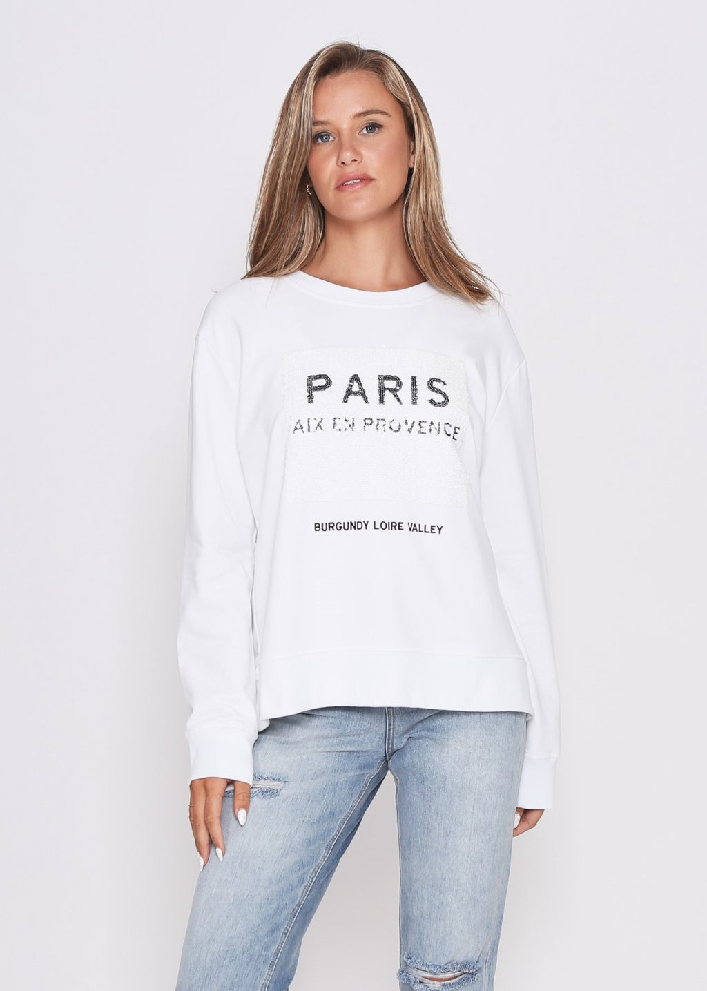 JUST IN - PARIS SEQUIN SWEATER - WHITE