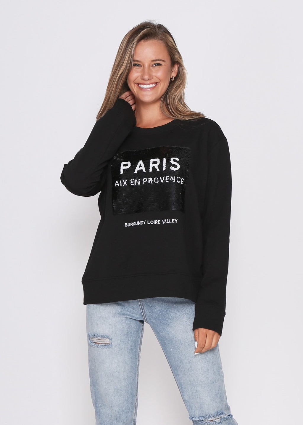 PRE-ORDER - PARIS SEQUIN SWEATER - BLACK
