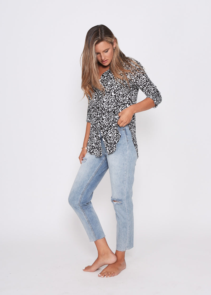 BROOKE SHIRT - BLACK LEOPARD