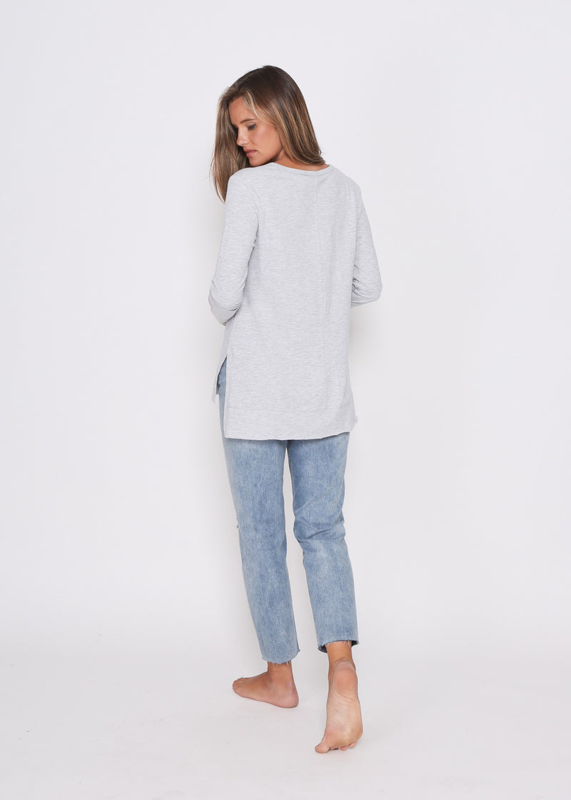 JESS LONG SLEEVE TOP - LIGHT GREY