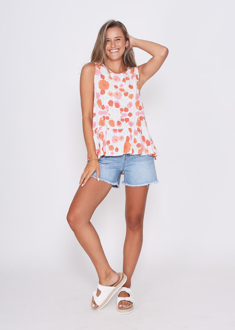 LARA TOP - POPPIES PRINT