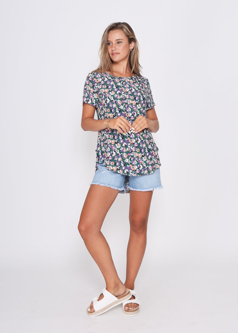 NEW - CARTER TOP - GREEN FLORAL